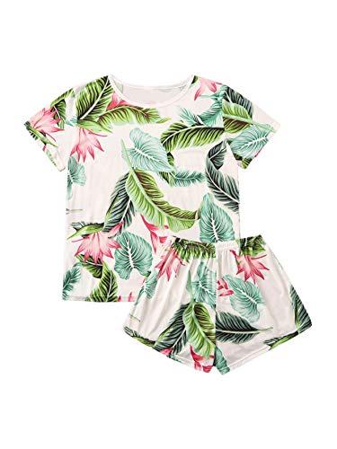 SweatyRocks Women's Soft Pajama Sets Tropical Print Tee and Short Sleepwear Pjs Sets White L