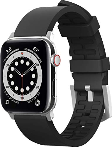 elago Premium Correa Deporte Compatible con Apple Watch Band 38mm 40mm 42mm 44mm, para iWatch Series 6 SE (2020) 5 4 3 2 1, Material Fluoro Goma Smartwatch Reemplazo Band (Negro)