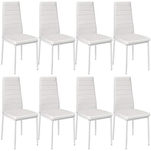 tectake 800881 8er Set Esszimmerstuhl, Kunstleder Stuhl mit hoher Rückenlehne, bis 150 kg belastbar, 41 x 45 x 98,5 cm (8X Weiß   Nr. 404120)
