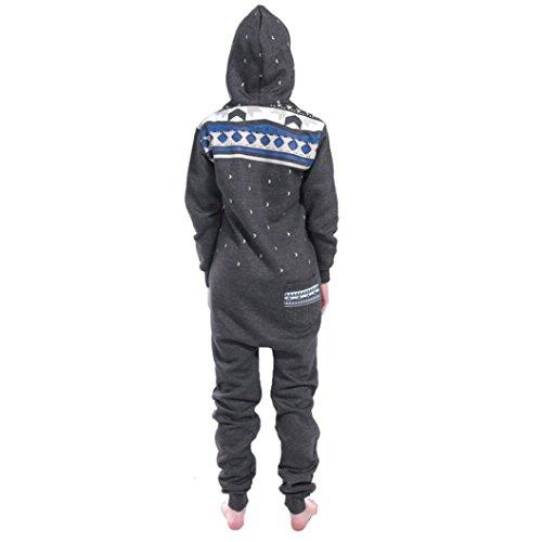 Elecenty Damen 3D Drucken Jumpsuit Schlafanzug Frauen Langarm Weihnachten Elch Winter warm lang mit Kapuze Overall (Dunkelgrau) - 2