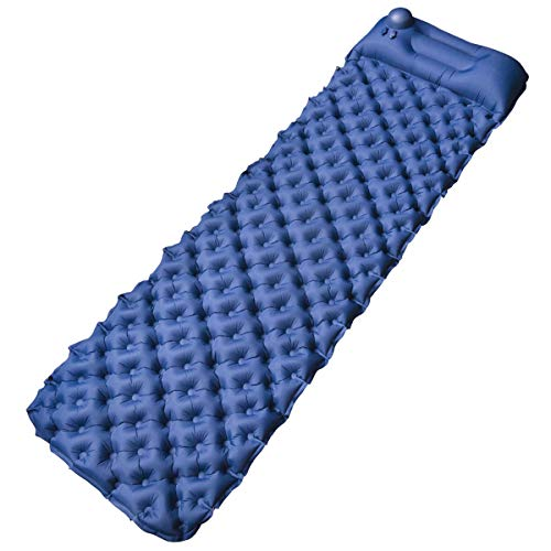 FOCHEA Isomatte Camping, Selbstaufblasbare Isomatte Handpresse Aufblasbare Luftmatratze Schlafmatte für Camping, Reise, Outdoor, Wandern, Strand (Blau)