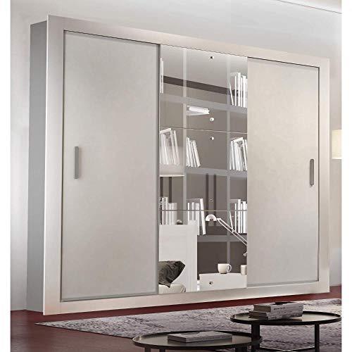 Guarda Roupa Casal com Espelho 3 Portas de Correr Alice Luxo Espresso Moveis Branco