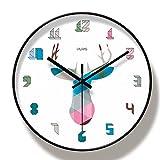 guijinpeng Relojes de Pared Reloj de Pared Grande de 35 cm con números de Color de Ciervo Colorido y Elegante, Reloj de Pared Grande para decoración de habitación infantilsilencioso Decorativo