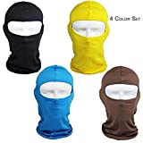 4PCS Yellow Ski Shileds for Mens Baclava Women Helmet Motorcycle, Kids Orange Hunting Hat, Bike Winter Helmet Cover, Running Face Cover, Full Ski Madk, Head Sock Under Helmet, for Sun Uv Protection