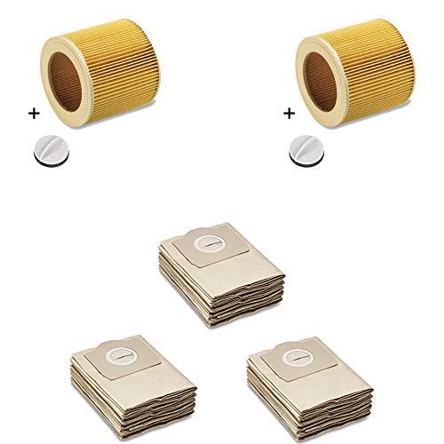 Bolsas de filtro de papel como 6.959-130.0 + filtro de cartucho 2 papel como 6.414-552.0, incluye cierre 4.075-012.0 apto para Kärcher WD2, WD3, MV2, MV3, A2054, A2201, etc. de la casa