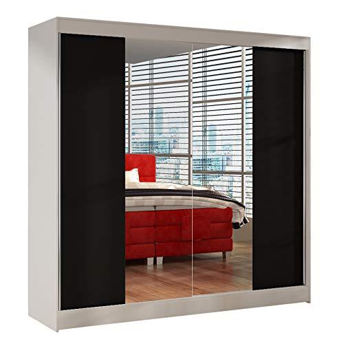 Schwebetürenschrank Basti II 200 cm mit Spiegel - Kleiderschrank, Schiebetürenschrank mit Kleiderstange und Einlegeboden, Schlafzimmerschrank, Schiebetüren, 200x215x58 cm (Weiß/Schwarz)