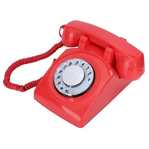 Goshyda Teléfono con Cable, teléfono Fijo de decoración Retro Vintage con Sistemas duales FSK/DTMF, para Sala de Estar, Dormitorio, Estudio, Oficina, Regalo(Rojo)