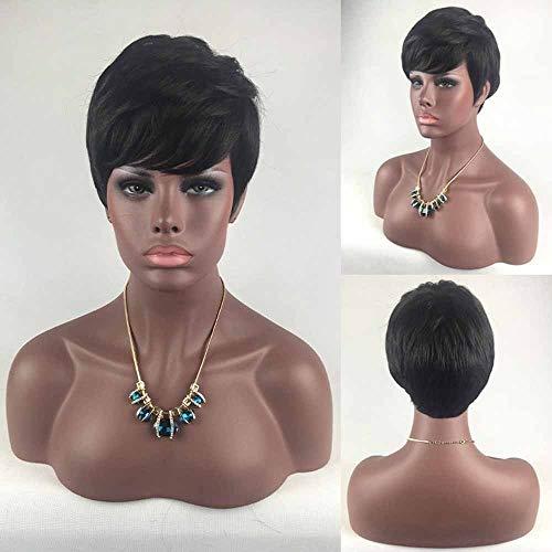 Korte Pruiken for Black Women Brazilian Hair Short Black Elfjeskapsel Pruiken Menselijke Haar Bob Wig for vrouwen