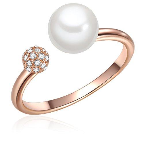 Valero Pearls Damen-Ring Sterling Silber rosévergoldet Zirkonia farblos Süßwasser-Zuchtperle weiß - Stapelring rosevergoldet mit Süßwasserperlen weiss