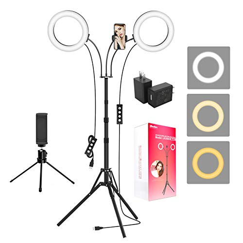 "Ring Light with Tripod Stand and 2 Phone Holders, iMartine 8"" LED Selfie Ring Light for Laptop for Vlog/Makeup/YouTube/Video Shooting, 2 Adapters & Remote Compatible with iPhone & Android"