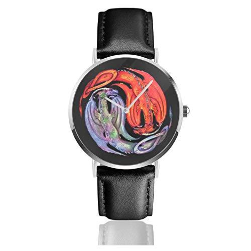 Relojes Anolog Negocio Cuarzo Cuero de PU Amable Relojes de Pulsera Wrist Watches Dragón Reptil Monstruo Bestia