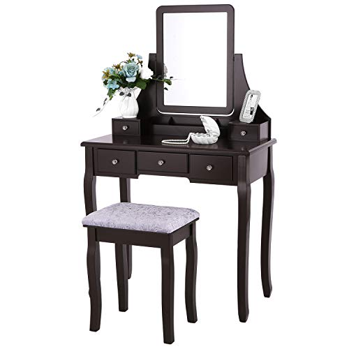 BEWISHOME Vanity Table Set with Mirror & Cushioned Stool Dressing Table Vanity -