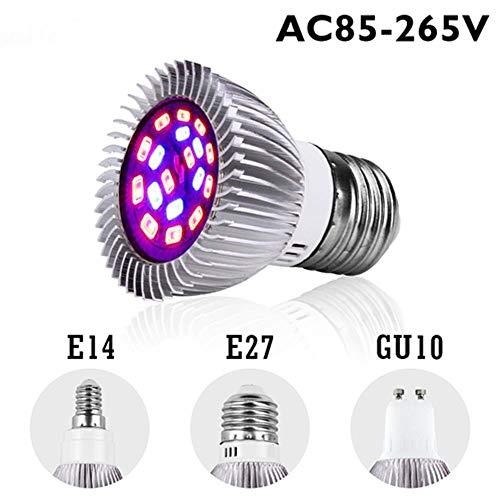 LED Plant Grow Light, Full Spectrum Led Grow Light Lampada E27 E14 Mr16 Gu10 Indoor Plant Lamp Bloeiende hydrocultuursysteem Uv Garden 110V 220V, E14, Aluminium Grow Lamp