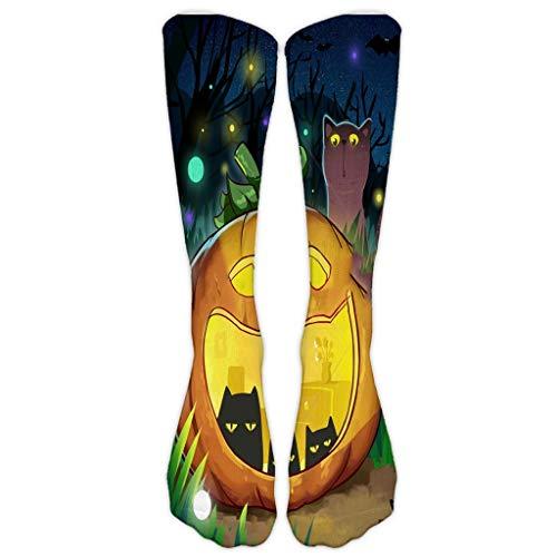 Casual Work-Business Socken Damen 3D Halloween Pumpkin Printing-Medium Sportsocken Halloween Shop-Kniestrümpfe-Kniehohe Lange Socken URIBAKY