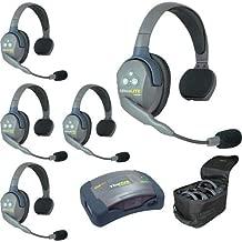 Eartec HUB5S Hub Mini Duplex Base 5-Person System, Includes 5X Ultralite Single Headset