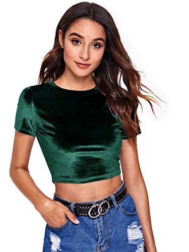 Verdusa Women's Sexy Round Neck Short Sleeve Velvet Slim Fit Crop Top Shirt Green M