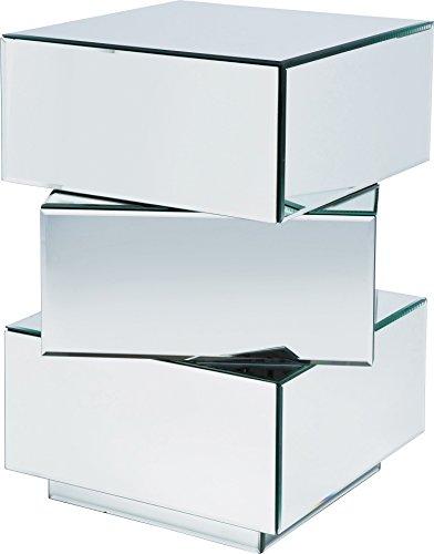 Konsole Cubo Small 3SK, kleine, schmale Kommode mit 3 Schubladen, moderner Design-Konsolentisch aus verspiegelten Glas (H/B/T) 64,5x58x58cm