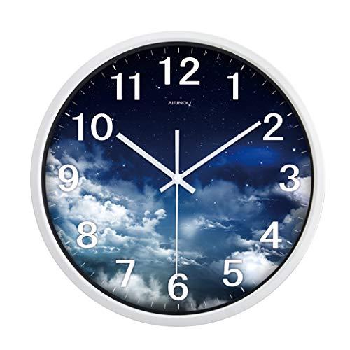 Everyday home Horloge murale numérique muet grande horloge à quartz salon chambre bureau horloge de cuisine (Couleur : Blanc, taille : 12 pouces)