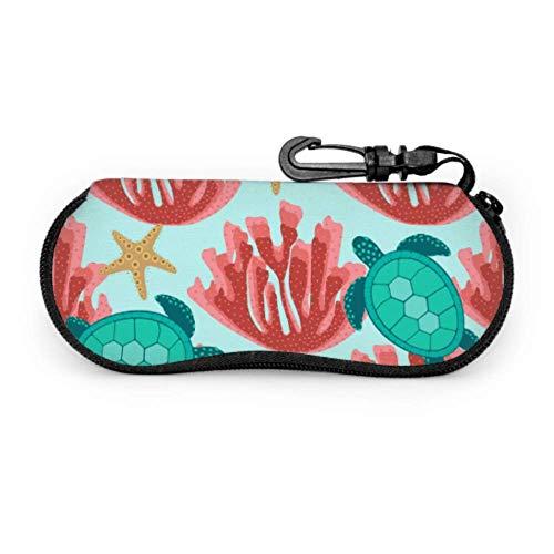 Estuche de gafas con mosquetón, tortugas, estrellas de mar, corales, fondos de pantalla, gafas de sol con cremallera portátiles ultraligeras, estuche blando - se adapta a la mayoría de las gafas