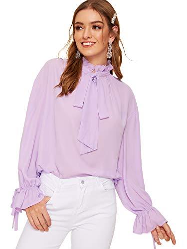 Romwe Women's Elegant Vintage Bow Tie Ruffle Mock Neck Lantern Sleeve Working Blouse Tops Shirt Purple Small