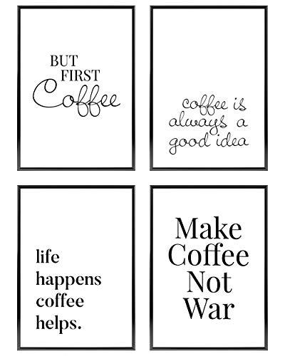 Heimlich ® Premium Poster Set | OHNE Bilderrahmen | Stilvolles Set mit passenden Bilder in Schwarz-Weiß | 4 Stück in DIN A4 (21x30cm) | Ohne Bilderrahmen » Kaffee «