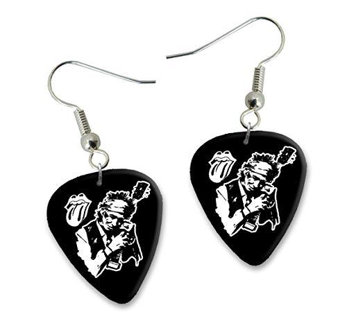 Keith Richards Rolling Stones Design 1 Gitarre Plectrum Ohrringe Earrings BWEG