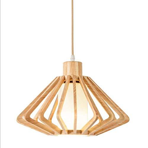 TAIDENG Chandelier de madera hecho a mano japonés en forma de diamante, lámpara decorativa hueca primaria (Color : Medium)