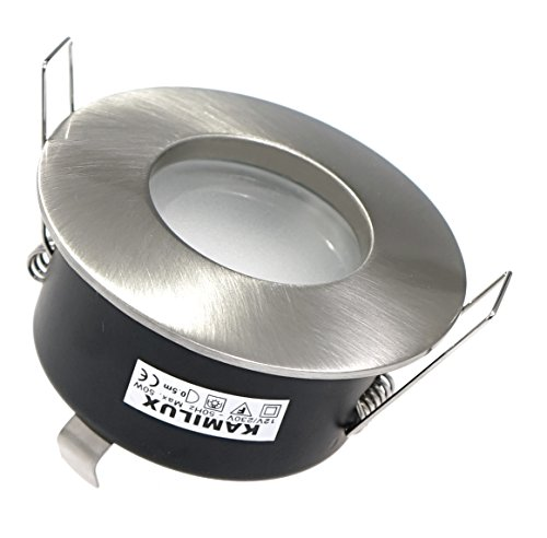 12V Aqua LED Feuchtraum Einbaustrahler in edelstahl-gebürstet, Schutzklasse IP65, NIEDERVOLT 12Volt MR16 / GU5.3, inkl. 5W LED in warmweiss
