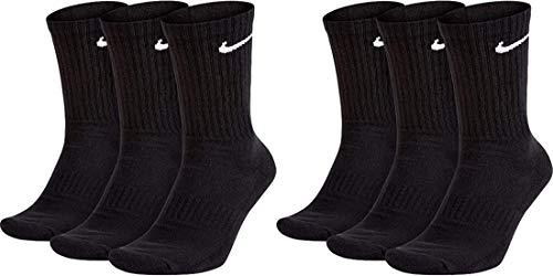 Nike 6 Paar Socken Herren Damen Weiß Grau Schwarz Tennissocken Sportsocken Sparset SX7664 Größe 34 36 38 40 42 44 46 48 50, Farbe:Schwarz, Größe:34-38