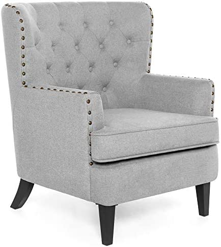 Best Best Choice Products Polyester Tufted Modern Wingback Accent Chair Furniture for Home, Living Room,