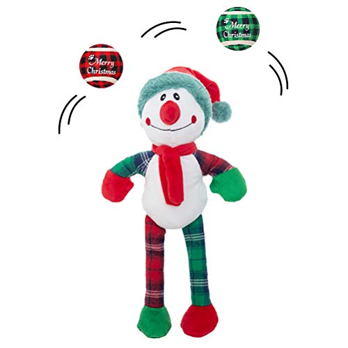 Christmas Dog Squeaky Plush Toy with 2 Pcs Tennis Balls for Dogs, Interactive Dog Toys for Boredom and Stimulating Play, Clown Joker Toy High Elastic Best Xmas Gift for Small Medium Large Dogs