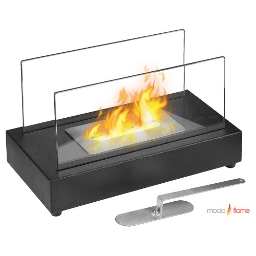 Moda Flame Vigo Ventless Tabletop Bio Ethanol Fireplace in Black