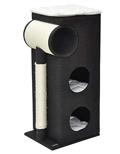 nanook Katzen Kratztonne Kratzbaum Kratzmöbel Sisaltonne - schwarz - mit XXL Kratzbrett und Kratzstamm - 95 x 43 x 35 cm