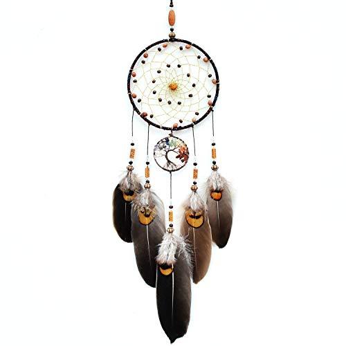 IMMIGOO Traumfänger mit Baum des Lebens Handgefertigt Traditionelles Dreamcatcher Indischen Gute Träume Wand Zimmer Auto Spiegel Deko Ornament Geschenk - Braun