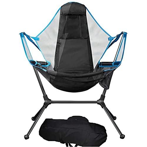 Milu deer Portable Camping Pliant Chaise à Bascule Camping Swing Swing Luxe Salon Chaise relaxante et Confortable Dossier en Plein air pliing Chaise de Plage Chaise hamac (Color : Blue)