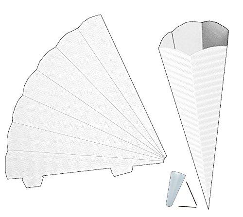 alles-meine.de GmbH Schultüte - Rohling Wellpappe - Weiß - 70 cm - mit / ohne Kunststoff Spitze - Zuckertüte zum selber Basteln - 6 eckig - Bemalen und Bekleben Bastelschultüte