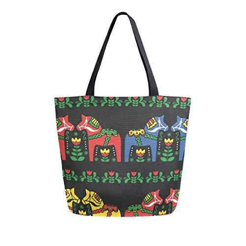 Schwedische Dala Pferde Folk Canvas Tote Bag Tragetasche Tragetasche Schultertasche für Einkaufen Reisetasche Wiederverwendbare Lebensmitteltaschen