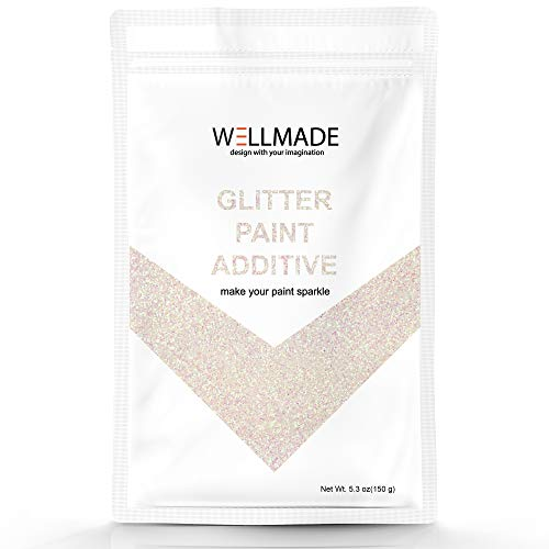 150g/5.3oz Wellmade Glitter Paint Additive for Wall Paint-Interior/Exterior Wall, Ceiling, Wood, Metal, Varnish, Dead Flat, DIY Art and Craft (150g/1bag, Mother of Peal)