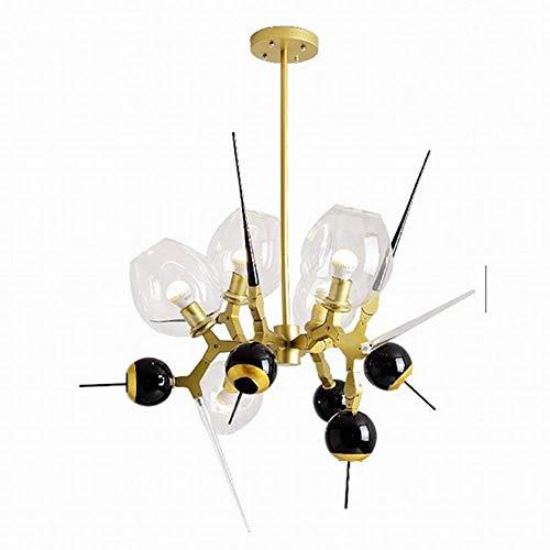 WEM Candelabro, candelabro Sputnik moderno de 5 luces, luz de techo de rama esmerilada E27, iluminación colgante de vidrio soplado a mano Starburst, candelabro de barra de pasillo dorado de 5 luces,d