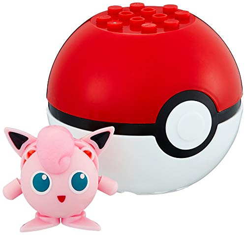 Pokemon Mini Figur Pummeluff Jigglypuff mit Pokeball BAU Blocksteine Block - Mega Construx