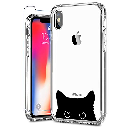ZADORN iPhone X Case with Screen Protector,iPhone Xs Case Clear with Design for Girls Women,15ft Drop Tested,Hard PC and Soft TPU Bumper Protective Phone Case for iPhone X/XS Black Cat