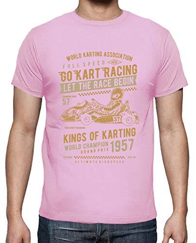 latostadora - Camiseta Go Kart Racing para Hombre Rosa M
