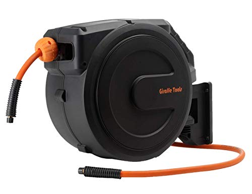 Giraffe Retractable Air Hose Reel Enclosed with 3/8 in. x 50 ft Hybrid Hose, Lightweight Compressor Hose Reel Wall Mounted with 180° Swivel Bracket, 300 PSI