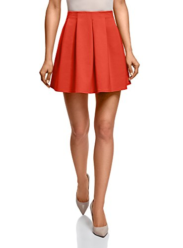 oodji Ultra Mujer Minifalda con Pliegues Suaves, Naranja, ES 40 / M