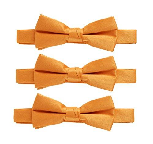 Sportoli174; Kids Baby 3-Pack Adjustable Solid Color Banded Satin Pre-tied Bow Ties - Orange
