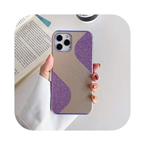 La mejor carcasa para iPhone 12, carcasa de TPU flexible con purpurina brillante mate para iPhone 11 12 Mini Pro Max Color caramelo de lujo, cubierta negra y púrpura para iPhone 12 Mini