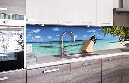 DIMEX LINE Küchenrückwand Folie selbstklebend Strand IM Paradies | Klebefolie - Dekofolie - Spritzschutz für Küche | Premium QUALITÄT - Made in EU | 260 cm x 60 cm