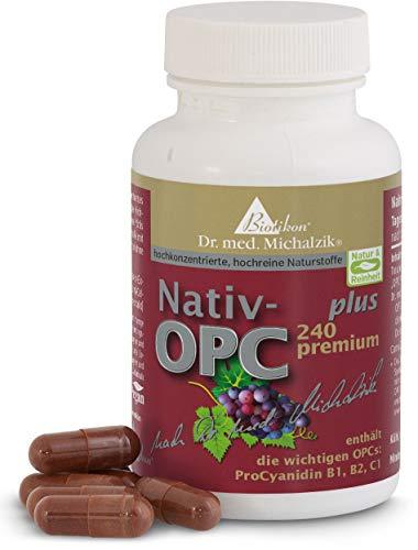 OPC premium Plus - Dr. med. Michalzik - 450 mg Extrakt aus Vitis vinifera - 240 mg OPC - 50 mg reines CamuCamu Extrakt enthält die wichtigen OPCs ProCyanidin B1, B2, C1 je Kapsel - ohne Zusatzstoffe - von BIOTIKON®