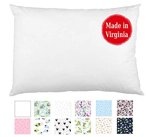 A Little Pillow Company Toddler Pillow (13x18) 100% Produced in The USA, Hypoallergenic, Machine-Washable (White)