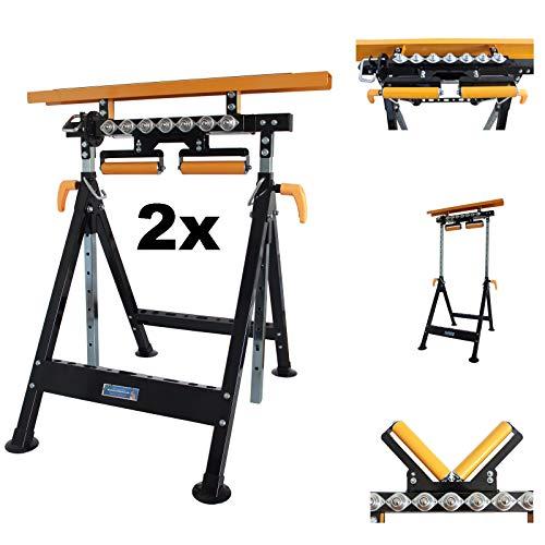 2 X TrutzHolm® Multifunktions-Arbeitsbock Rollenbock höhenverstellbar Klappbock V-Rollen klappbar 2 X Werktisch 4 in 1 Arbeitsbock